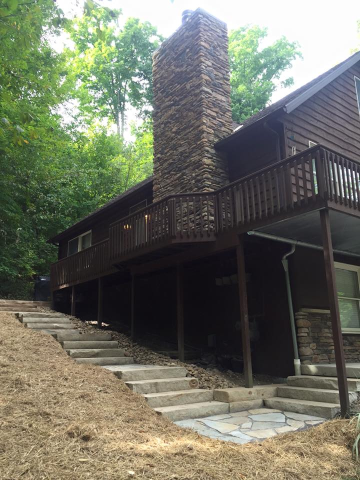 Deck,chimney and stairs
