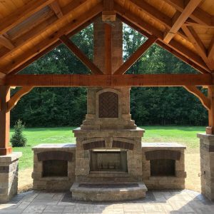 Outdoor Living Contractor near Canton Ohio. Beautiful fireplace.