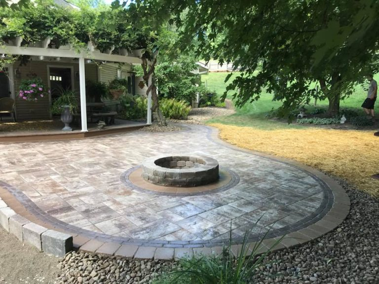 Outdoor fireplace and sidewalk