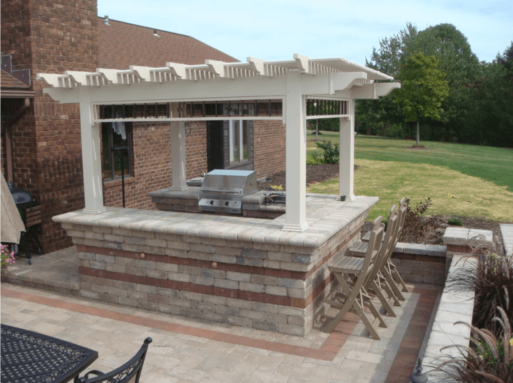 Lattice style covering an outdoor kitchen